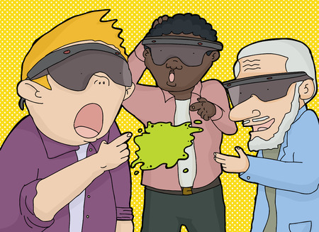 trio: Trio of men using virtual reality to touch something Illustration