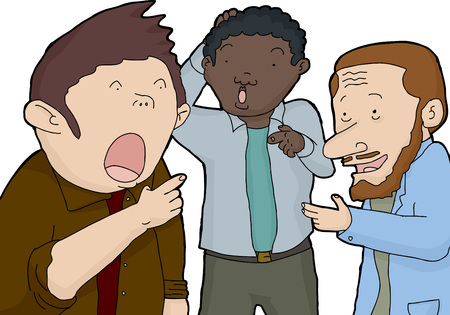 astonished: Three isolated astonished men pointing their fingers Illustration