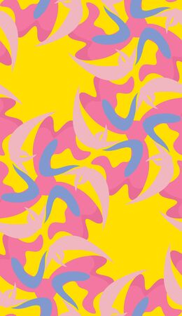 fluttering: Pink fluttering crescents over bright yellow background