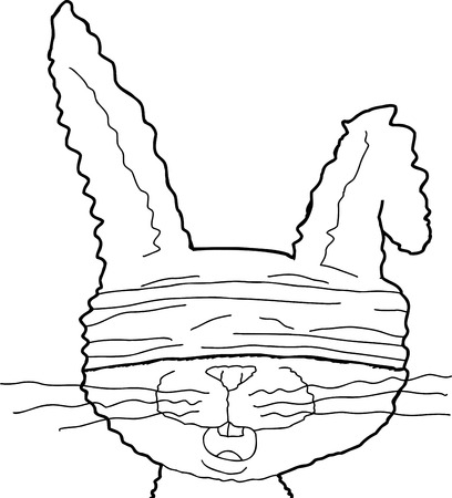blindfold: Isolated cartoon rabbit with bent ear and blindfold Illustration