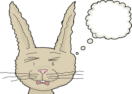 weeping: Isolated crying rabbit illustration with thought bubble