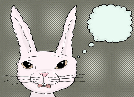 uneasy: Single startled cartoon rabbit with thought bubble Illustration