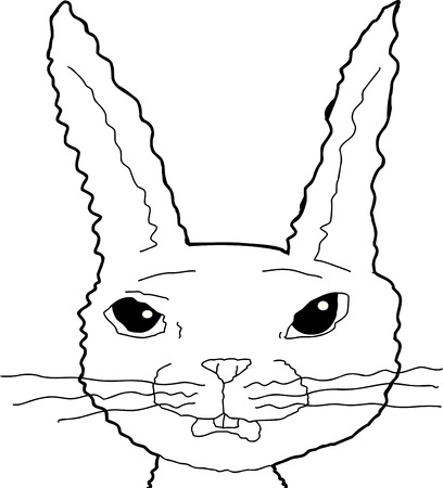 uneasy: Outline illustration of nervous bunny rabbit over white Illustration