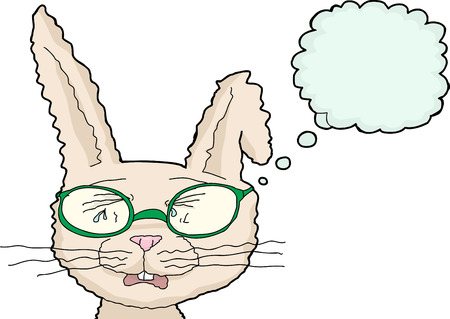 weeping: Isolated bunny with tears and glasses over white background