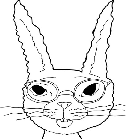 Outline illustration of cheerful bunny in eyeglasses
