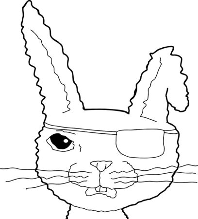 eye patch: Close up of pirate rabbit with eye patch Illustration