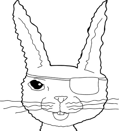 eye patch: Outline illustration of happy rabbit with eye patch Illustration