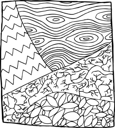 square root: Outlined tree, root and leaves in square zentangle Illustration