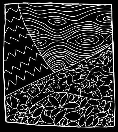 White outline zentangle of tree parts over black Illustration