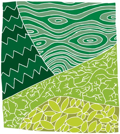 cross section of tree: Hand drawn zentangle design in green tree and leaves Illustration