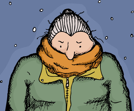 chilly: Single adult senior female in orange scarf and coat Illustration