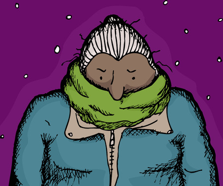 wrapped: Single female adult wrapped in scarf wearing winter coat