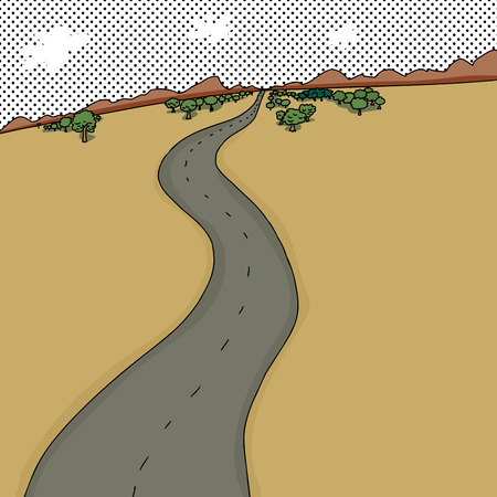 rural road: Cartoon background desert scene with winding road Illustration