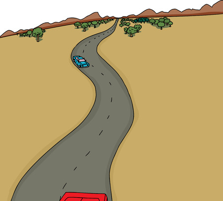 rural road: Cartoon background with cars on desert highway
