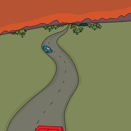 two lane highway: Cartoon scene of cars on road at sunset