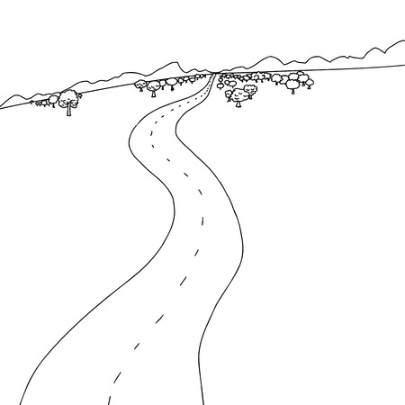Hand drawn cartoon of winding road to mountains