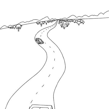 hand drawn cartoon: Dibujado a mano de dibujos animados de coches en el camino a las monta�as