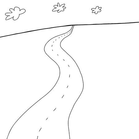 two lane highway: Outline of empty two lane highway toward horizon