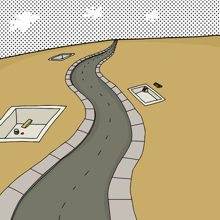 rural road: Empty cartoon scene with concrete housing foundations