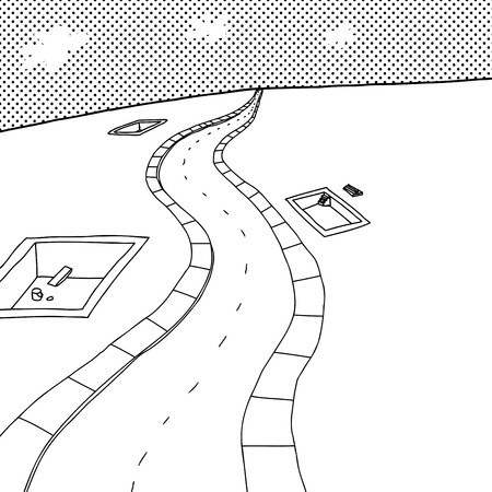 rural road: Outlined cartoon scene with concrete housing foundations Illustration