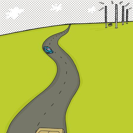 hand drawn cartoon: Dibujado a mano de fondo de dibujos animados de carreteras y torres de antenas de radio Vectores