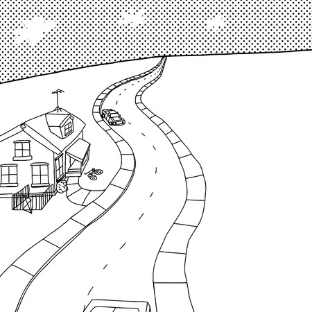 Outline cartoon of street with little house and cars Illustration