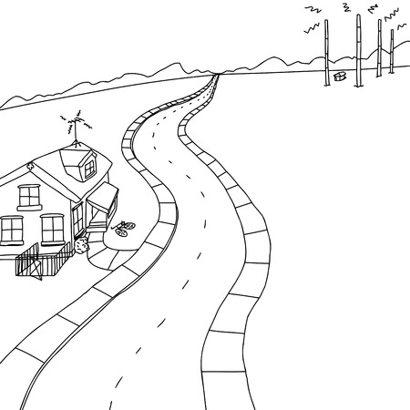 Outlined scene of little house on road near radio transmitter