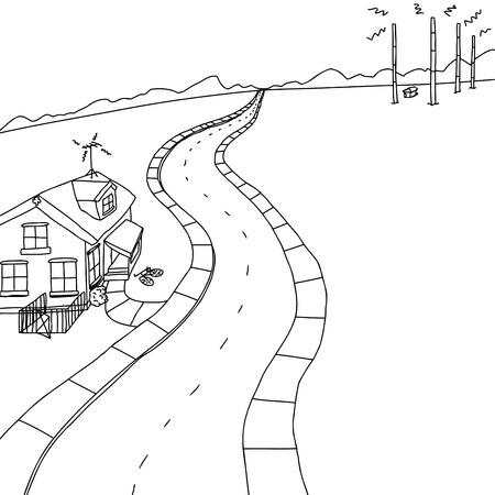 Outlined scene of little house on road near radio transmitter