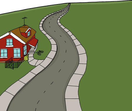 bicycle lane: Hand drawn red house on empty road