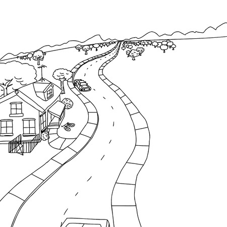 Outline drawing of house with trees along road