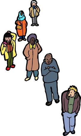 woman cellphone: Illustration of group of six diverse adults over white