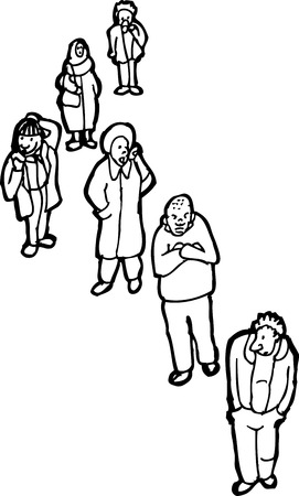 middle aged woman: Outlined illustration of group of six adults waiting in line