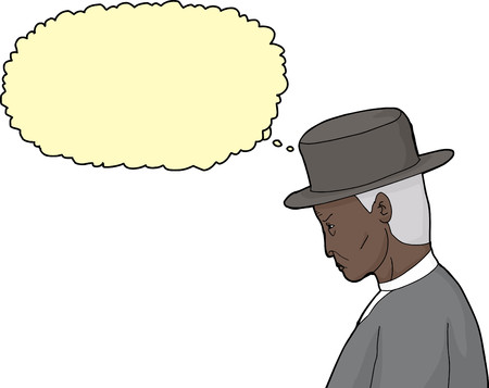 Side view cartoon of frowning man in vintage hat and suit
