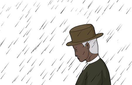 sneering: Cartoon of elderly man in in rain over white Illustration