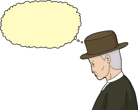 sneering: Isolated hand drawn cartoon of thinking senior man in hat Illustration