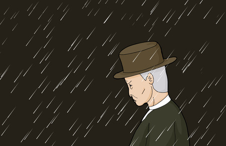 Profile of serious man with gray hair in rain