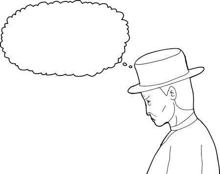 Outline cartoon of 1920s man with thought bubble