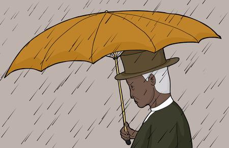 sneering: Senior Asian man holding umbrella in rain storm Illustration