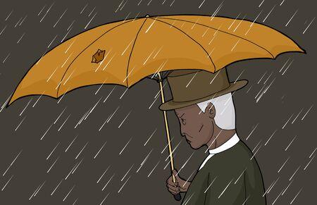 sneering: Senior Asian man holding torn umbrella in rain storm