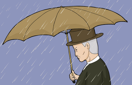 Side view cartoon of Caucasian man holding umbrella