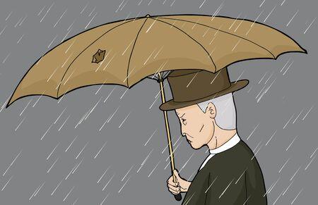 sneering: Side view cartoon of man holding damaged umbrella Illustration