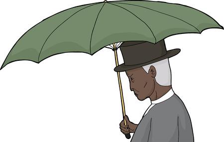 sneering: Profile of isolated cartoon of elderly man with umbrella Illustration