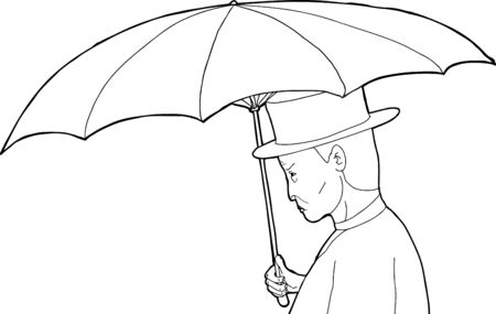 Outline profile of vintage man holding umbrella