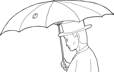 Outline profile of vintage man with torn umbrella