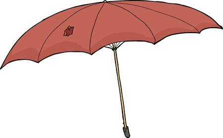 Hand drawn damaged umbrella over white background