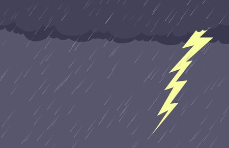 meteor shower: Cartoon background of falling rain and lightening bolt