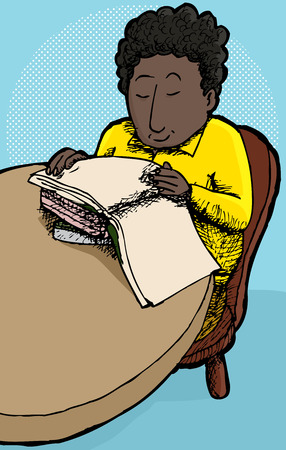 child sitting: Young cheerful child sitting at table reading books
