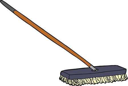 Isolated cartoon push broom over white background