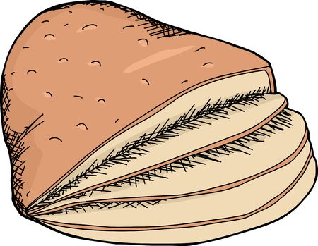 Hand drawn cartoon of sliced ham over white background