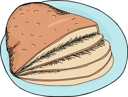 Hand drawn cartoon of sliced ham on plate